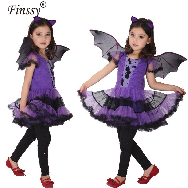 Bat Cosplay for Girls Halloween Costume for Kids Dance Dress Cape Cloak Bat little witch Costume for Children Party Dress