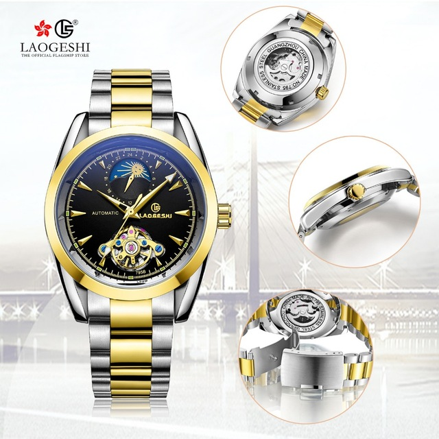 24 hours display Moon phase Relojes Laogeshi brand Tourbillon hollow waterproof watches men luminous automatic mechanical watch цена и фото