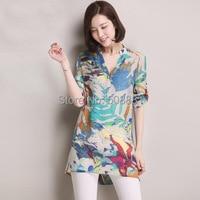 2015 New Kimono Summer Women Linen Plus Size Blouse Camisa Feminina Vintage Print Woman Shirts Top