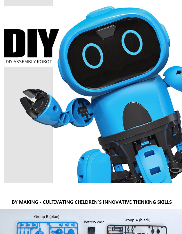 Intelligent Induction RC Robot DIY Assembled Electric Follow Robot with Gesture Sensor Obstacle Avoidance Kids Educational Toys 1