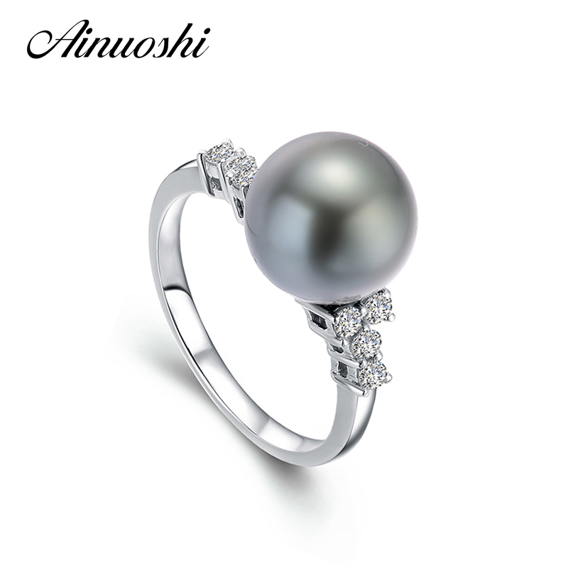AINUOSHI AAAA Tahitian 10 мм черный культивированный жемчуг кольцо стерлингового серебра 925 Юбилей изделия Круглый Sea Pearl Ring