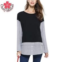 XL-5XL Женщин Рубашка Плюс Размер Дамы С Длинным Рукавом в Полоску Лоскутная Свободные Блузки Женщины Топы Осень-Весна Вскользь Рубашки