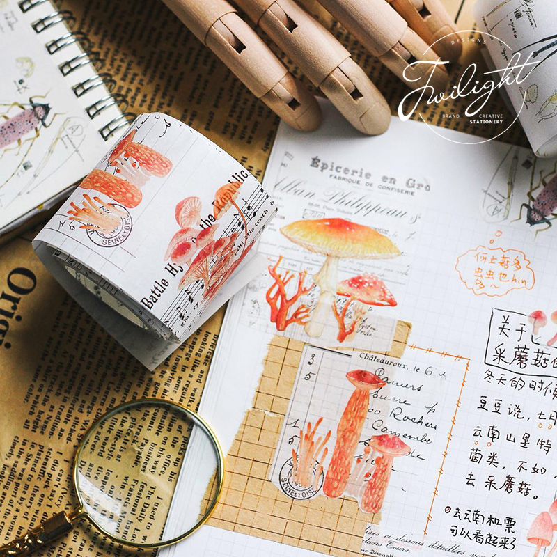 5cm*5m Vintage Mushroom Plant Washi Tape DIY Decoration Scrapbooking Planner Masking Tape Adhesive Tape Label Sticker