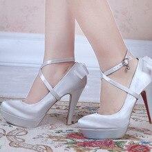 Frühling Brautkleid Schuhe Super High Heel Plattform Dame Mode Schuhe Bankett Partei Schuhe für frau Weiß Champagner