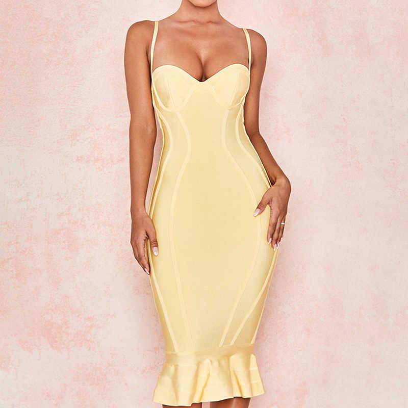 В форме рыбьего хвоста милое на тонких бретельках пикантные эластичная трикотажная одежда в стиле Лолита для девочек 2019 новая модная обувь; выбор звезд облегающее желтое повязное платье
