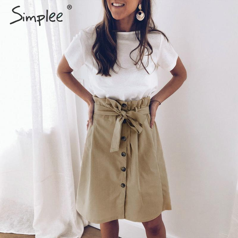 Simplee Vintage A-line Ruffled Women Skirts Elegant High Waist Button Summer Casual Female Skirts Korean Shases Ladies Skirts