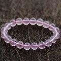 8mm Genuine Mozambique Natural Star Light Rose Quartz Bracelets Women Femme Charm Stretch Pink Round Crystal Beads Bracelet