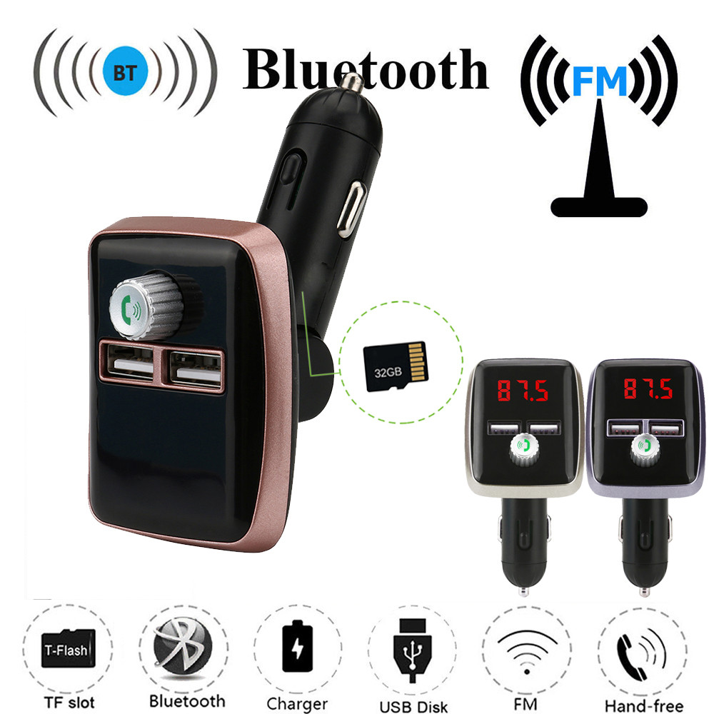 Bluetooth FM LCD Transmitter Wireless MP3 TF Radio Adapter USB Charger Car Kit