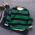 Kids Clothes Winter Baby boys T-shirts Plus Velvet top tees Children's Striped T-shirt cotton Sweatshirt hoody boy basic tshirt