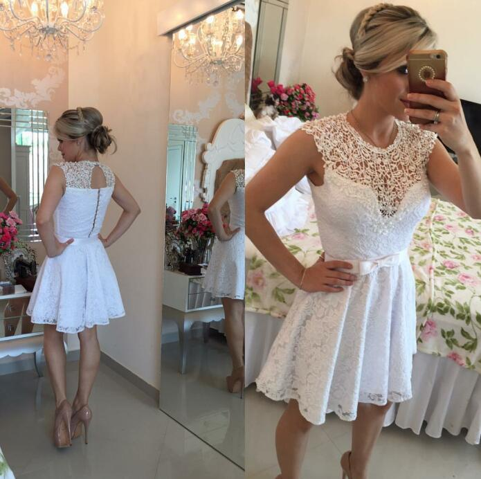 White 2019 Elegant Cocktail Dresses A-line Cap Sleeves Short Mini Lace Pearls Party Plus Size Homecoming Dresses