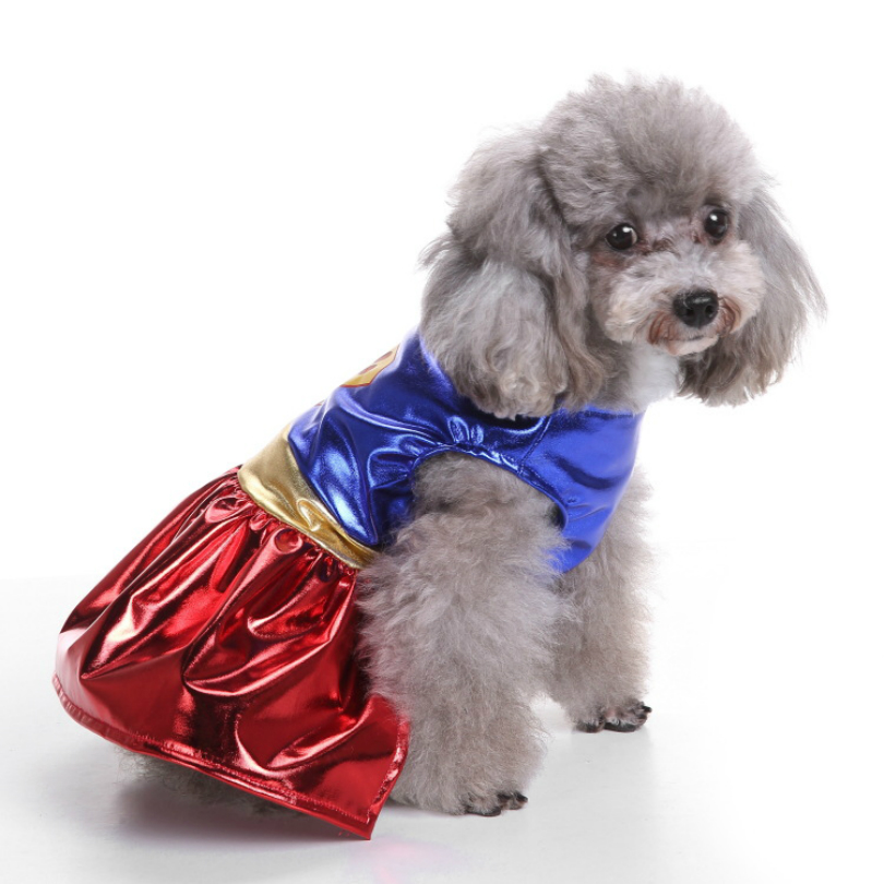 Christmas Dog Apparel Power Paw and Eagle Wonder Women Skirt Suit Dog Costume Jumpsuits for Small Medium Pet Dog Clothing S-XL