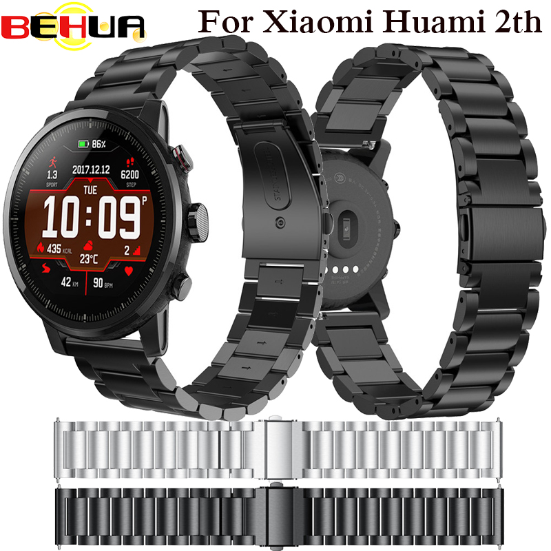22mm en acier Inoxydable Bracelet pour Origine Xiaomi Huami Amazfit Stratos 2 2ème rythme de courroie de bande bracelet montre smart watch Bande 2018