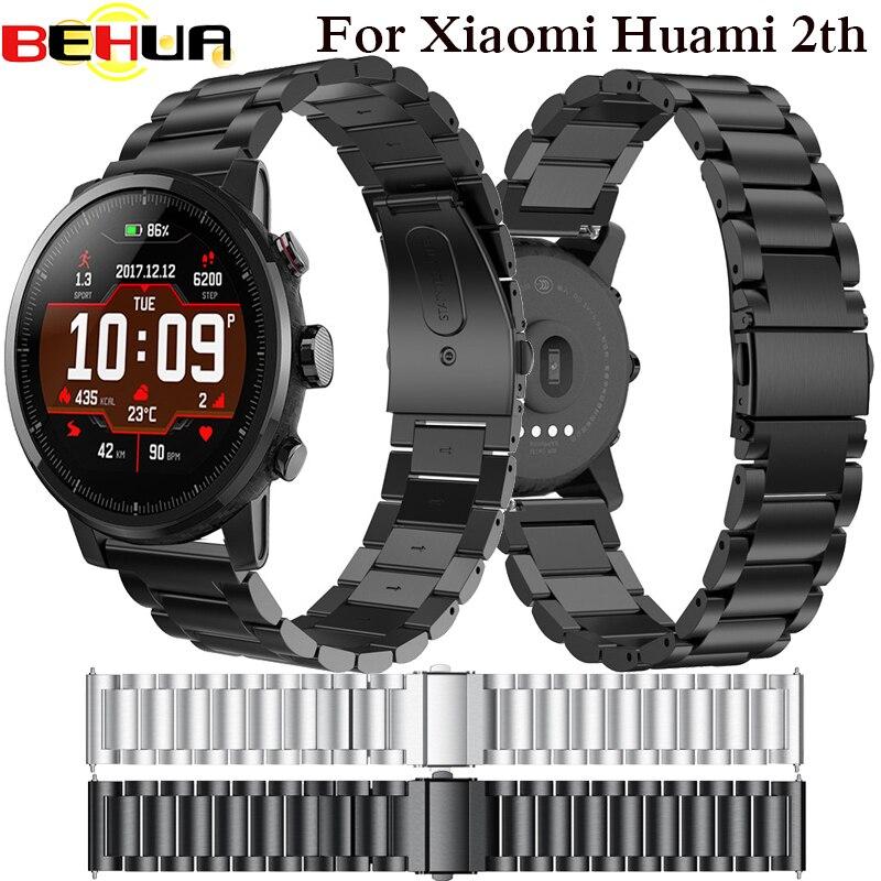 22mm pulsera de acero inoxidable para Original Xiaomi Huami Amazfit Stratos 2 2th ritmo banda Correa pulsera smart watch band 2018