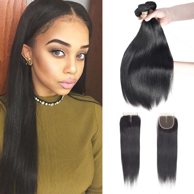 4 Bundles Silky Straight Hair With Closure Natural Color Human Hair