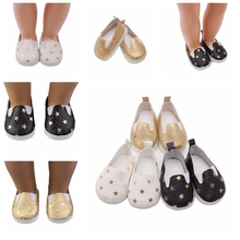1 Pair Fashion Mini Toy PU Leather Shoes Star Pattern Sneaker Plimsolls for 18 Inch Girl Dolls Ball Joints Doll Accessory