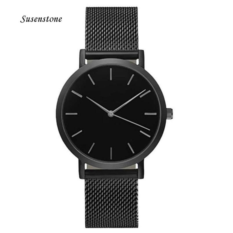 Klassiske kvinders mænds armbåndsure Mesh rustfrit stål armbånd Quartz Simple Style Design Casual ure Ladies watches