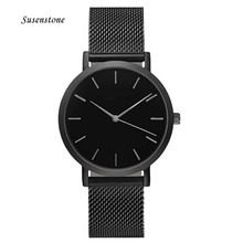 Men Women Fashion Stainless Steel Strap Analog Quartz Wrist Watch Luxury Simple Style Designed Bracelet Watches Women Clock 2018 cheap 20mm Round No waterproof Glass 40mm Fashion Casual Silicone Buckle 24cm None No package women watch stainless steel watch