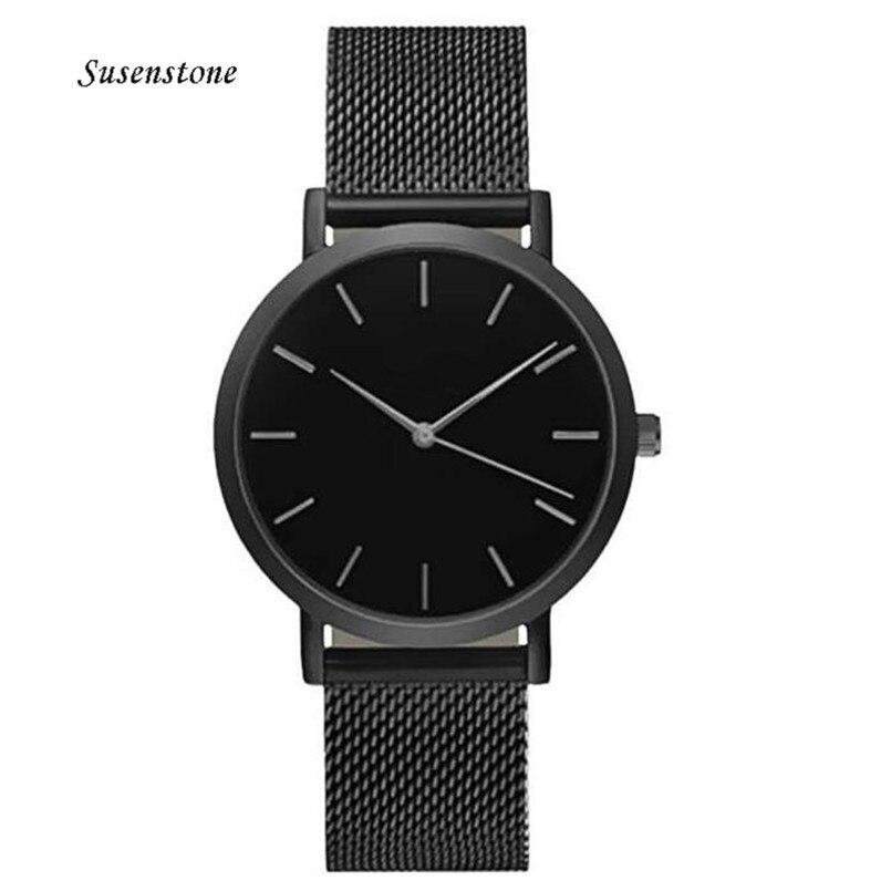 Men Women Fashion Stainless Steel Strap Analog Quartz Wrist Watch Luxury Simple Style Designed Bracelet Watches Women Clock 2018