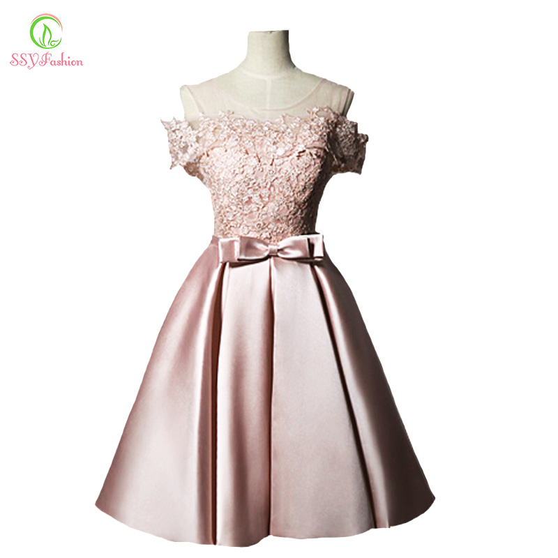 New   Evening     Dress   SSYFashion Sweet Pink Lace Satin Short A-line Banquet Party Gown Bride Formal   Dresses   Custom Robe De Soiree