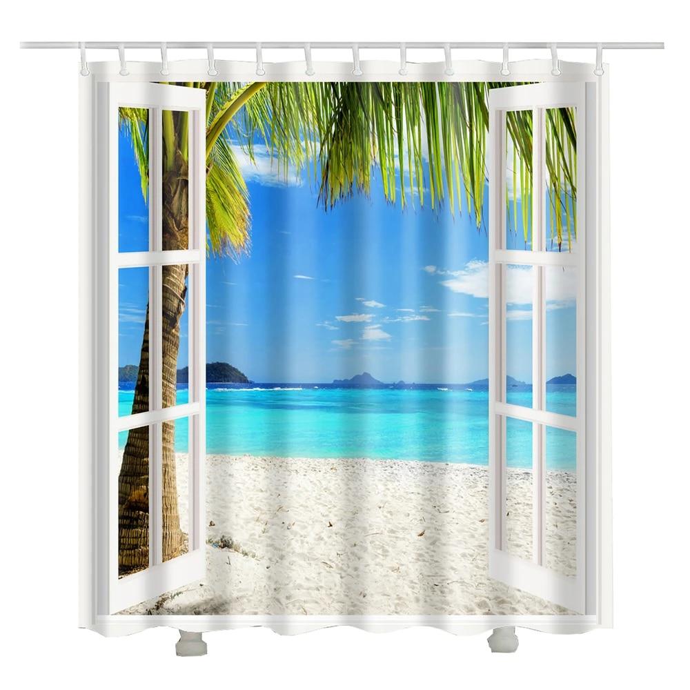 new arrival window beach shower curtain blue sea printed coconut tree shower curtain fabric