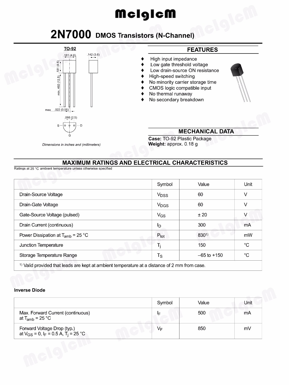 free shipping 50PCS 2N7000 TO92 Small Signal MOSFET 200 mAmps, 60 Volts N-Channel TO-92 Original and new