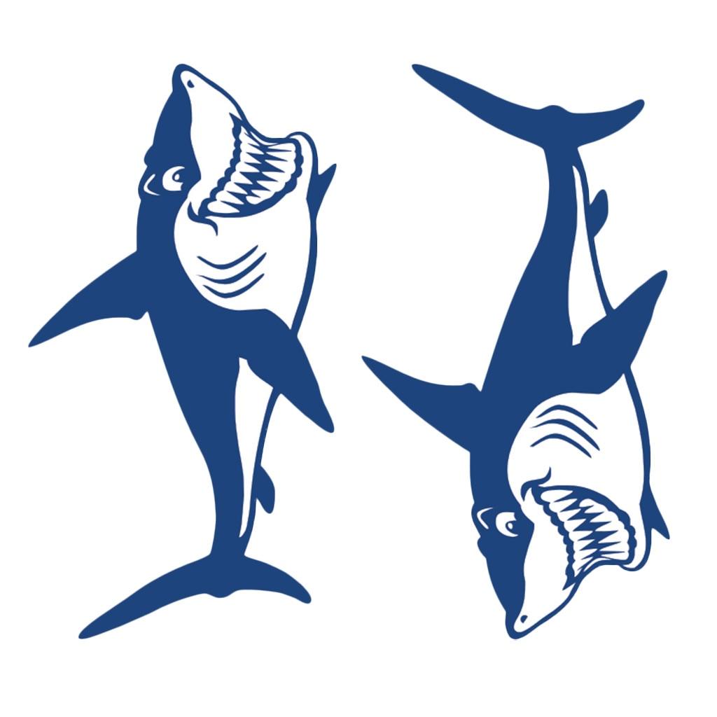 Image 4 - 1 Pair Cute & Funny Shark Decals Vinyl Shark Emblem Badge Sticker For Automobiles Motorcycle Boat Canoe Computer Etc Waterproof-in Decals & Stickers from Automobiles & Motorcycles
