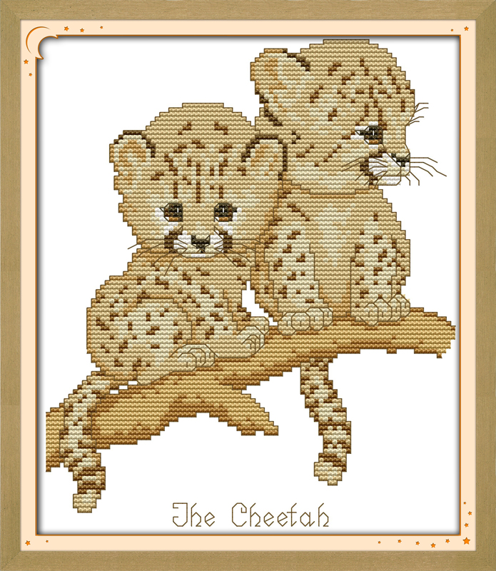Joy sunday animal style The cheetah cross stitch patterns christmas stocking needlepoint kits for children bed room decoration
