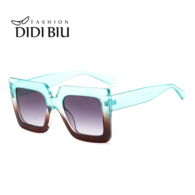 Square Transparent Sunglasses Women Wide Frame White Sun Glasses ...