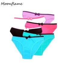 Moonflame 5 pcs/lot Hot Sale Underwear Ladies Solid Color Women Cotton Briefs 89040