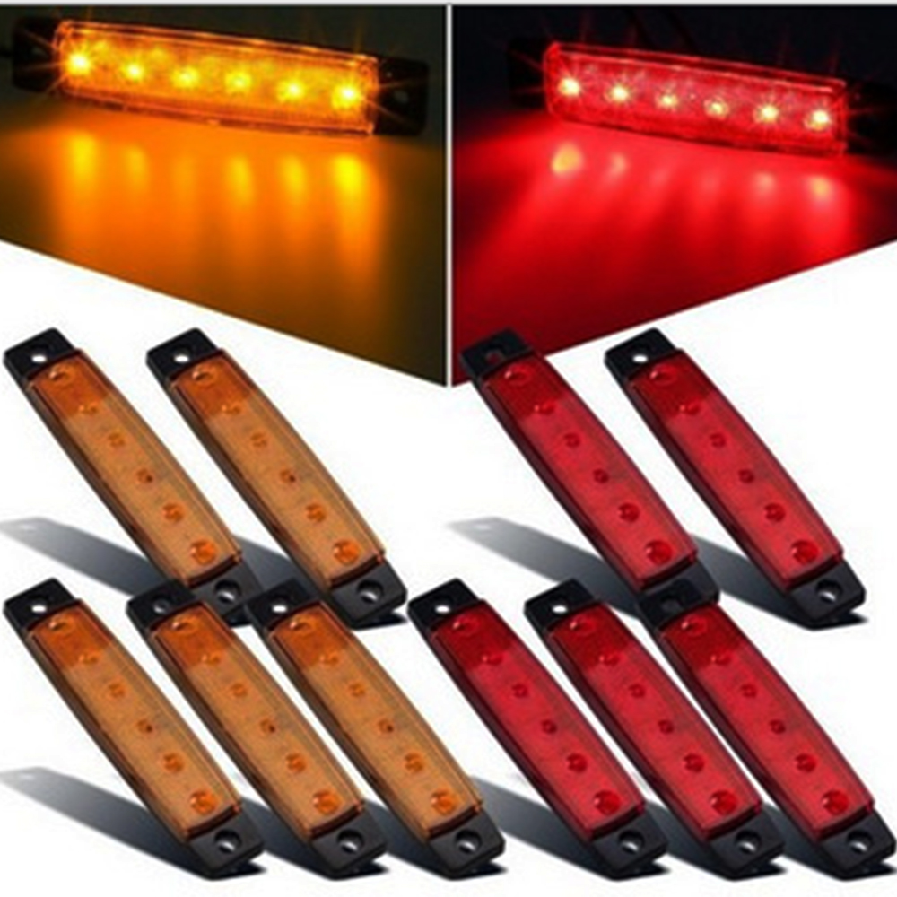 10x 12v 24v 6led Side Marker Indicators Lights Lamp For Car Truck Trailer Lorry 6 Led Amber Red Blue White Green Clearence Bus cyan soil bay 10pcs 6led red white green blue yellow amber 6 led clearence truck bus trailer side marker indicators light lamp