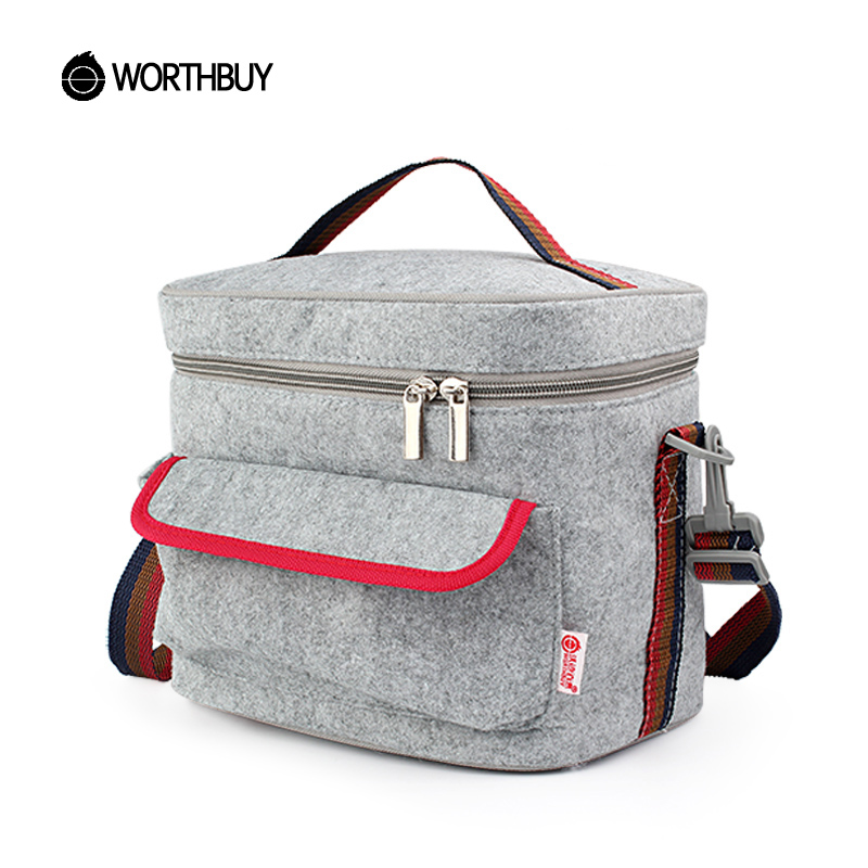 WORTHBUY Portable Thermal Lunch Bag Chinese Square Felt Tinfoil Lunch Box Bags Tote Women Kids Camping Picnic Bento Box Bag