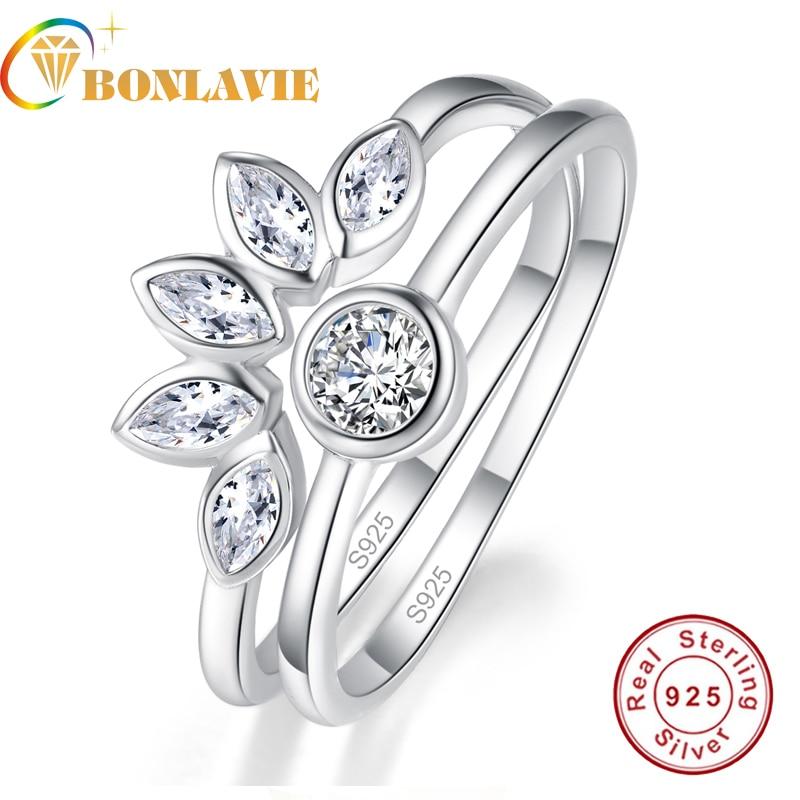 BONLAVIE 2PCS/Sets Flower Type Horse Eye Stone Ring Set White Gemstone 925 Sterling Silver Ring For Woman With Jewelry Box