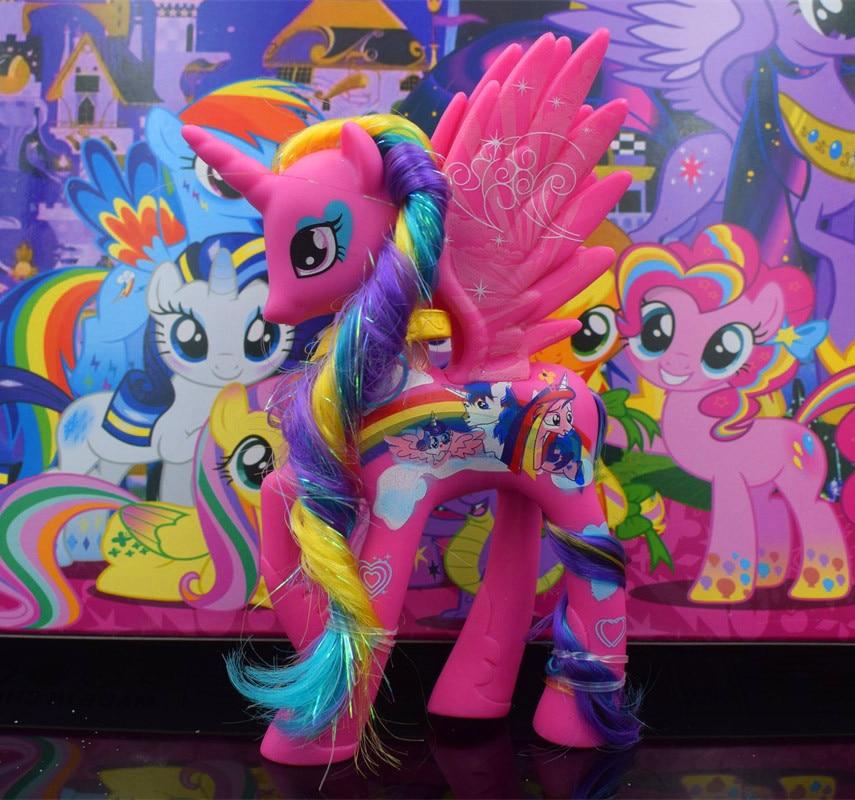 2018 новые 14 см немного ПВХ лошадь Принцесса Селестия принцесса Луна единорог лошадь игрушки фигурку Рождественский подарок