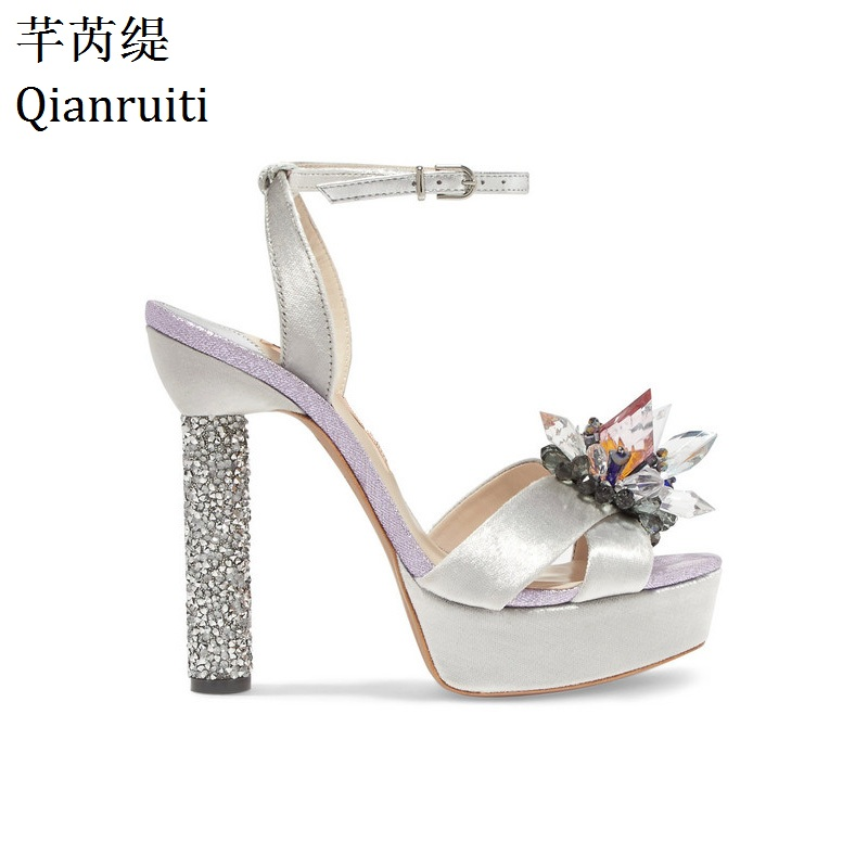 Qianruiti Silver Silk Peep Toe High Heels Sandals Studded Crystal Block  Heels Women Shoes Buckle Strap 770843ae7abf