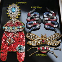 1 3pcs Lot 5 20cm Width Snake Insects Sequins Stones Rhinestones Beads Appliques Patches Brooch R35X112J0324C