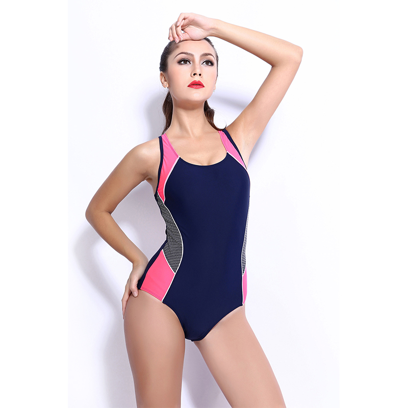 Sport High Quality Womens Backless Splice One Piece Swimsuit Training Bathingsuit Professional Bodysuit QY006 Z35