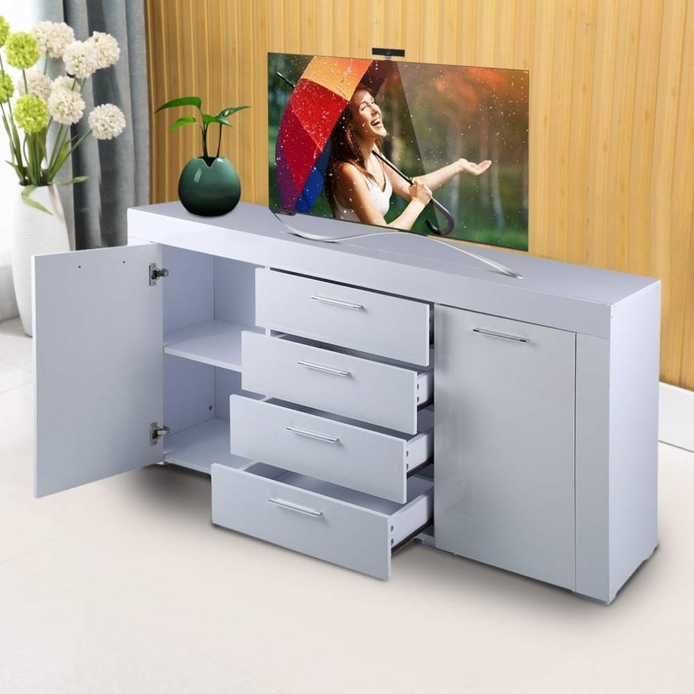 High Glossy Double Door Four Drawers Dresser Sideboard Cabinet Hallway Living Room Home Decoration Storage Furniture perth double dresser chestnut