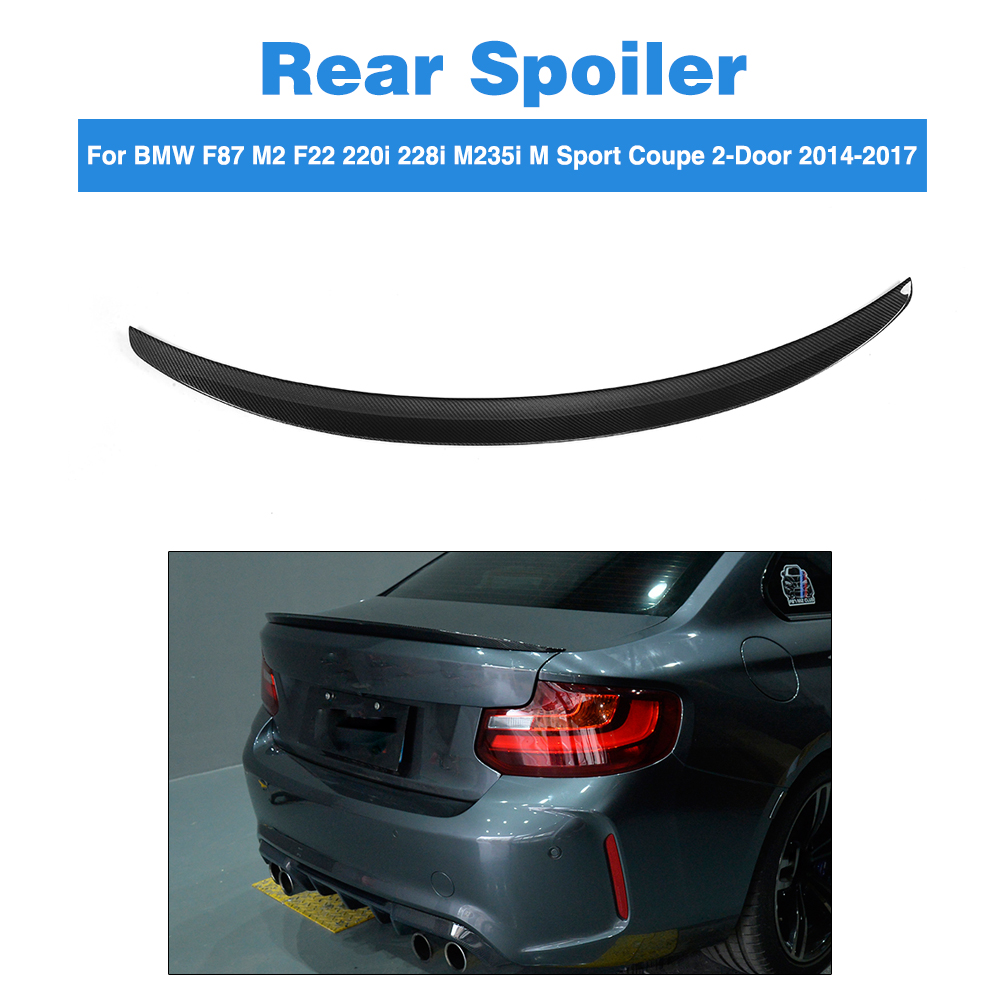 Carbon Fiber Rear Spoiler Trunk Boot Lid Wing for BMW F87 M2 F22 220i 228i M235i M Sport Coupe 2-Door 2014-2017 PF Style m performance style e92 coupe e93 cabriolet spoiler rear trunk wing for bmw 3 series 2 door 2006 2012 gloss black p style