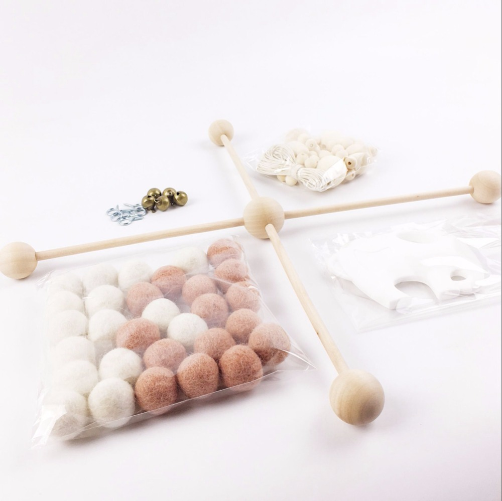 online buy wholesale wooden crib mobile from china wooden crib  - pinjeas nursery decor baby mobile girl pink white wool felt balls pomom(set)