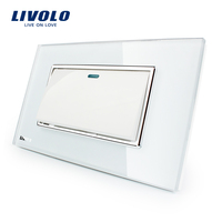 Manufacturer Livolo Luxury White Crystal Glass Panel Push Button 1 Gang 2 Way Switch VL C3K1S