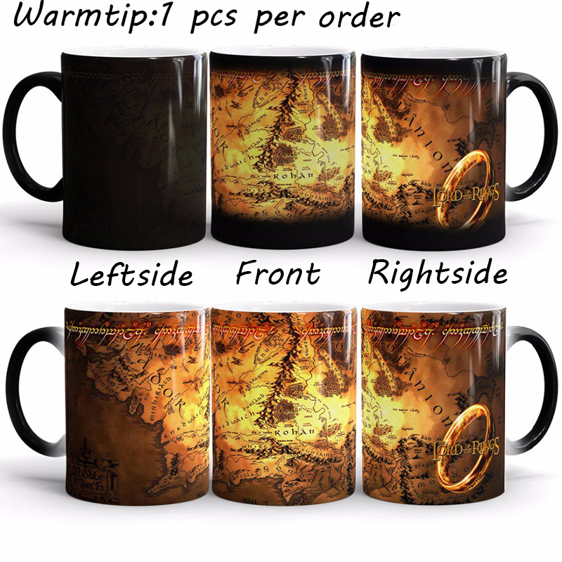 1pcs Magic Ring King Color Changing Mugs The Lord of The Rings Fans Gifts Middle Earth Ceramic Milk Cups Special Creative Rings