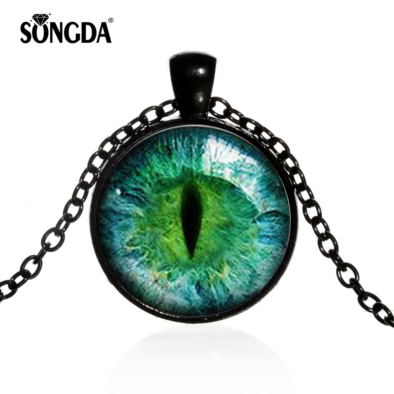 Trendy Dragon Eye Pendant Personality Eyes Jewelry Glass Dome Necklaces For Men Link Chains