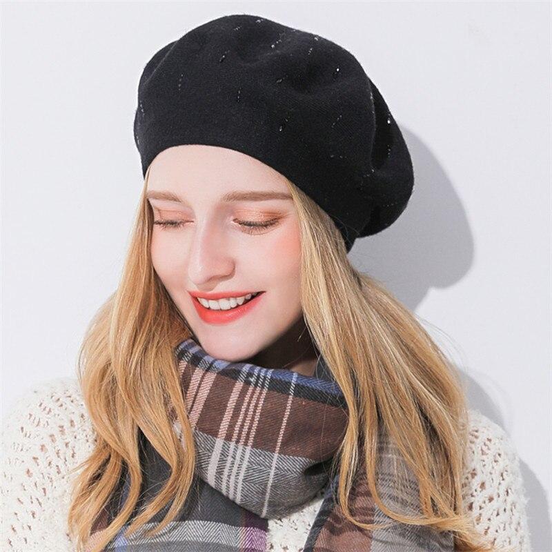 Gorros de lana de punto para mujer Xthree invierno gorros de moda para mujer  gorras de 727f9cec093d