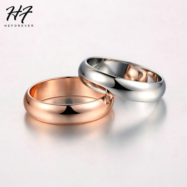 Couple Rings For Man Woman Simple Metal Rose Gold Color Wedding Engagement Dating Gifts Fashion Jewelry Wholesale All Size R049 3