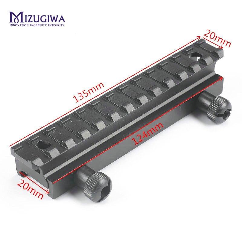 MIZUGIWA Tactical Rail 13 slots Weaver Scope Mount Base 20mm Scope Base Flat Top AR Riser Picatinny Pistol Airsoft Hunting Caza