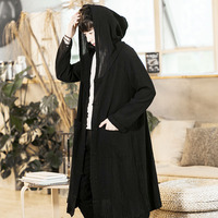 Men Long Cloak Hooded Trench Cardigan Jacket Gothic Punk Style Male Fashion Casual Loose Thin Coat
