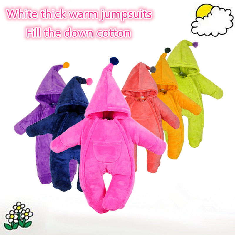New 2016 autumn winter rompers for newborn baby clothes kids down cotton rompers baby girls boys warm jumpsuits infant Overalls baby climb clothing newborn boys girls warm romper spring autumn winter baby cotton knit jumpsuits 0 18m long sleeves rompers