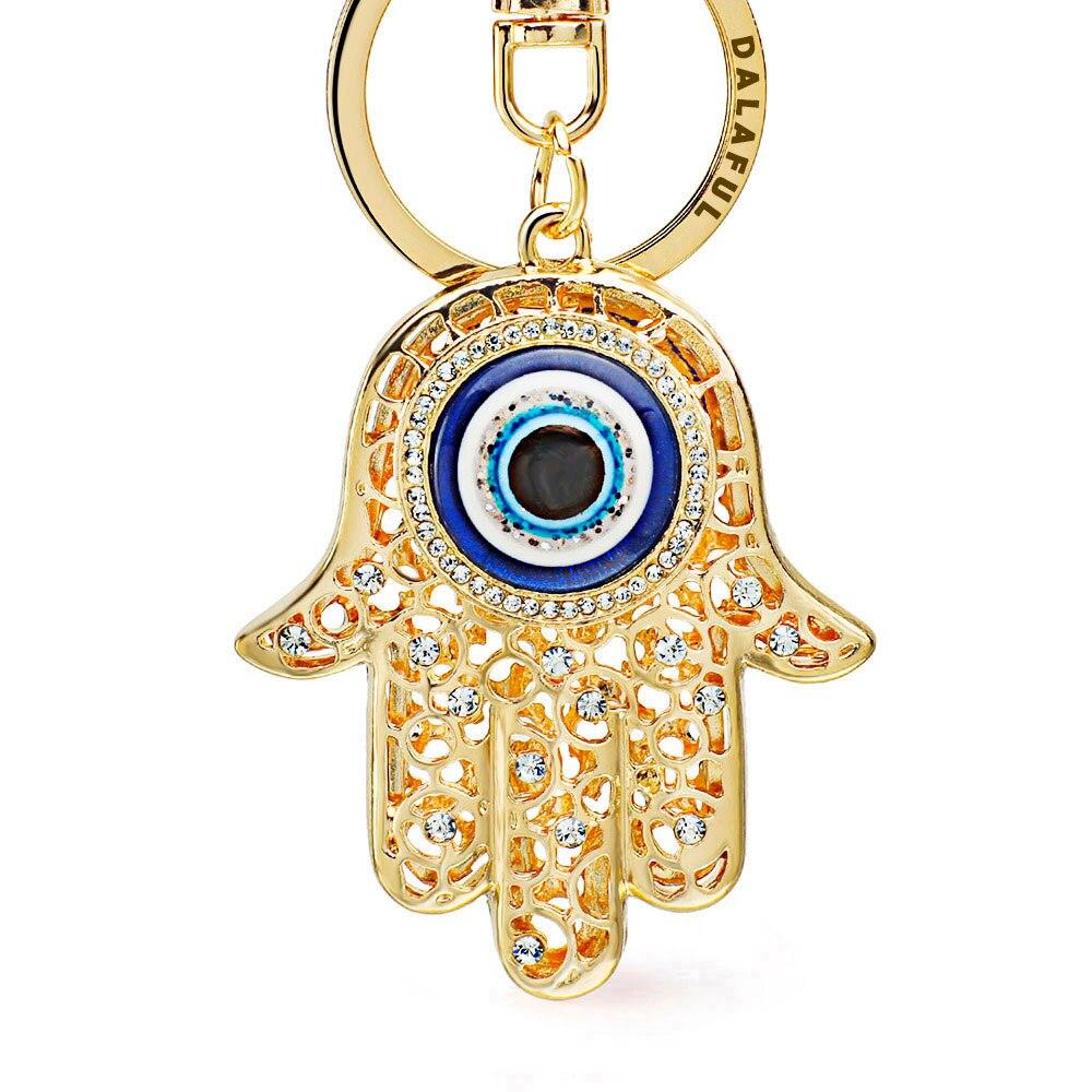 Dormon Lucky Amulet Hamsa Fatima Hand Eyes Crystal Keychains Keyrings Purse Bag Pendant Car Key Chains Holder Women DK236