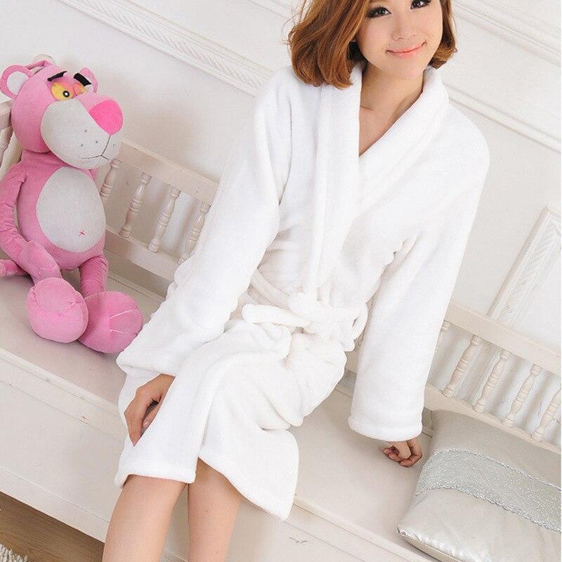Autumn Winter Bathrobes For Women Men Long Sleeve Flannel Robe Cotton Female Male Sleepwear Lounges Homewear Pyjamas