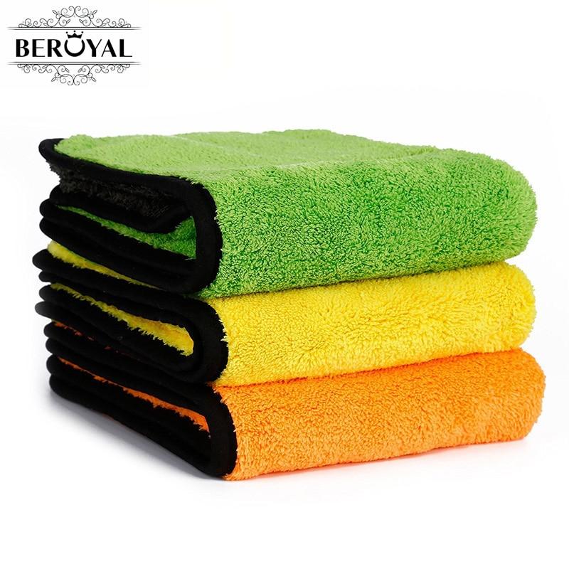 Beroyal Brand 2019 Kitchen Towel -3PC/Set Super Thick Plush Microfiber Car Cleaning Cloths Absorbent Dish Cloth Polishing Towels